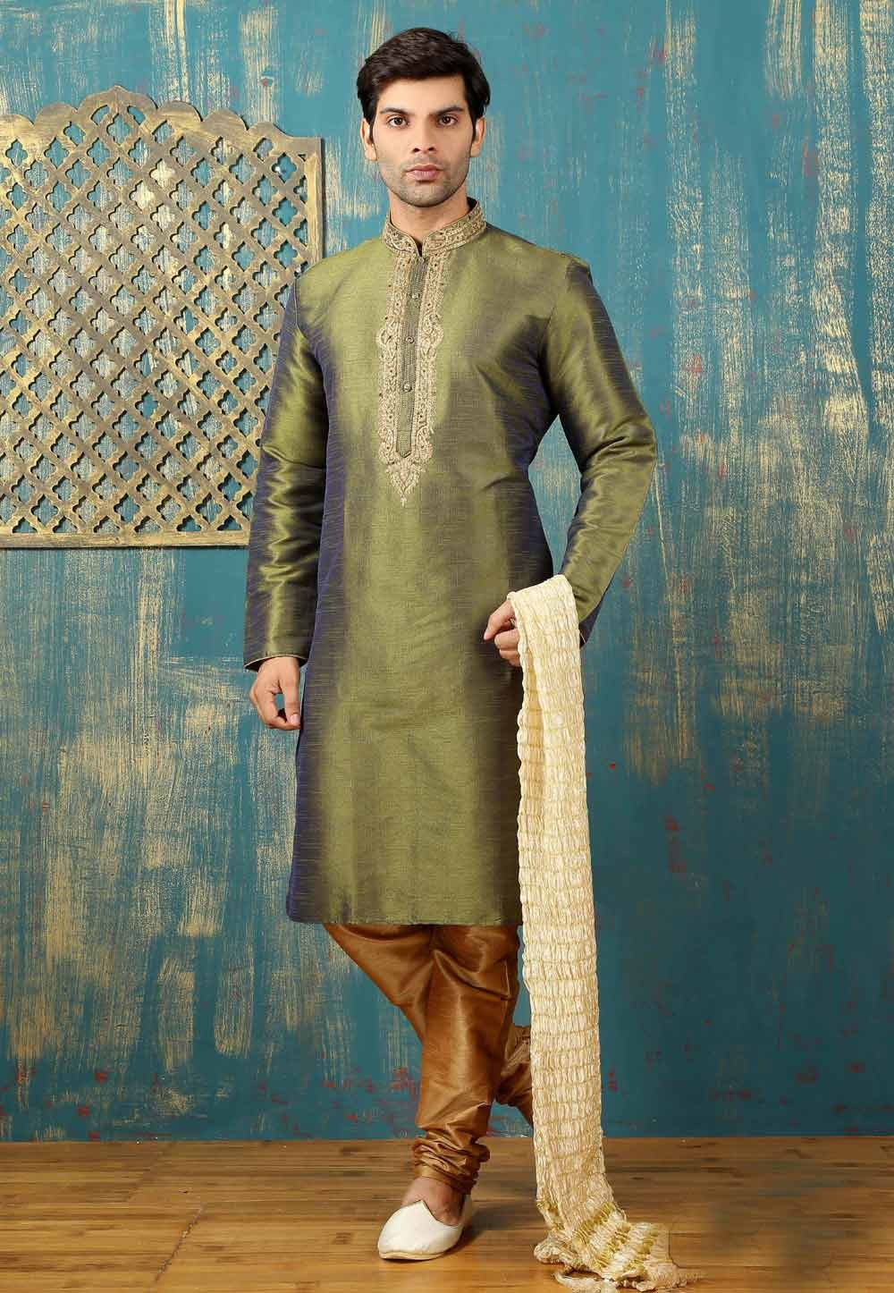 Green Color with Embroidered Work Readymade Kurta Pajama.