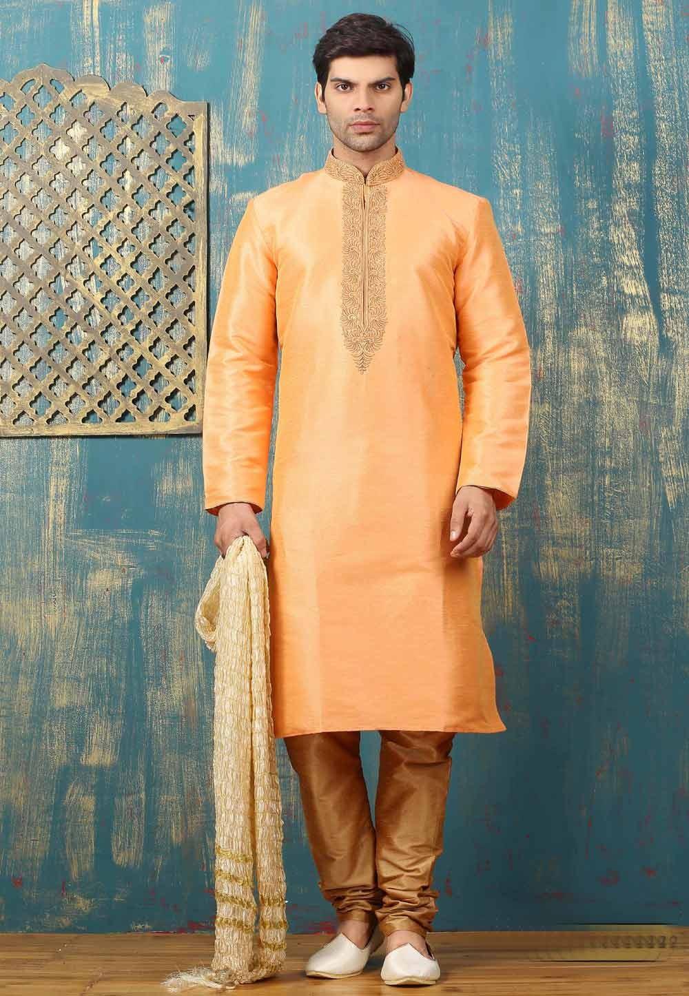 Peach Color Art Silk Men's Readymade Kurta Pajama.
