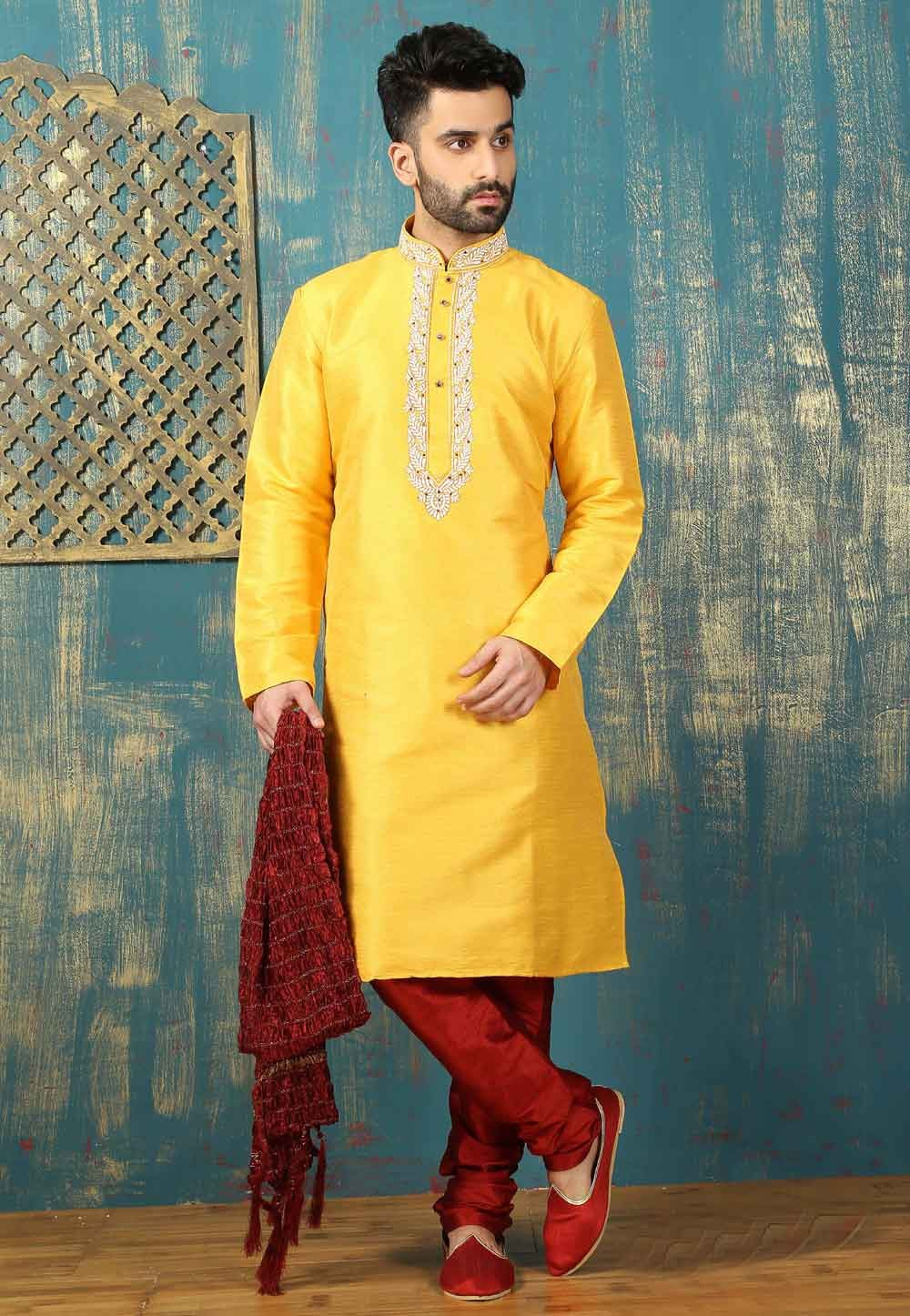 Exquisite Yellow Color Art Silk Readymade Kurta Pajama For Mens