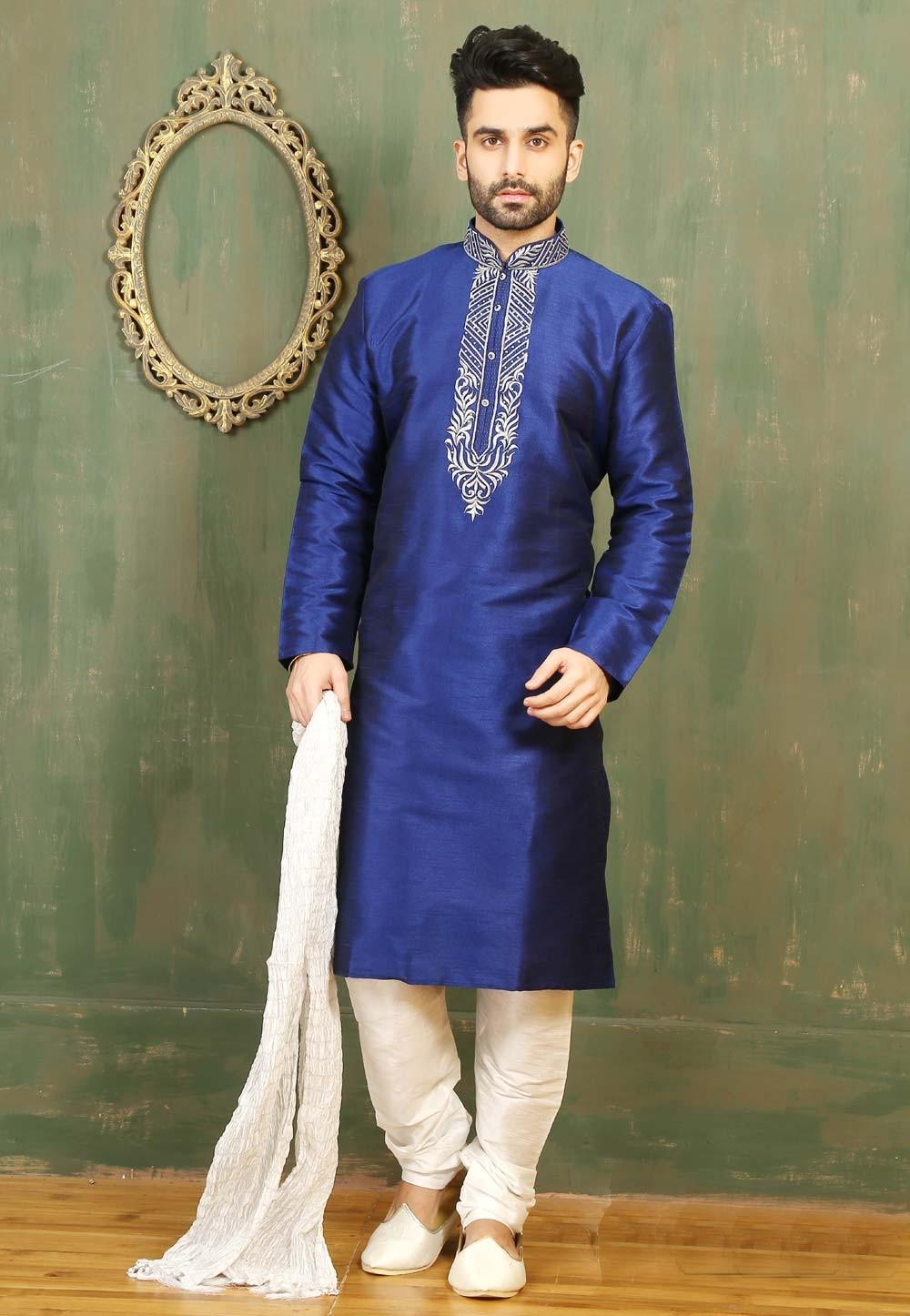 Blue Color & Dupion Art Silk Men's Readymade Kurta Pajama.