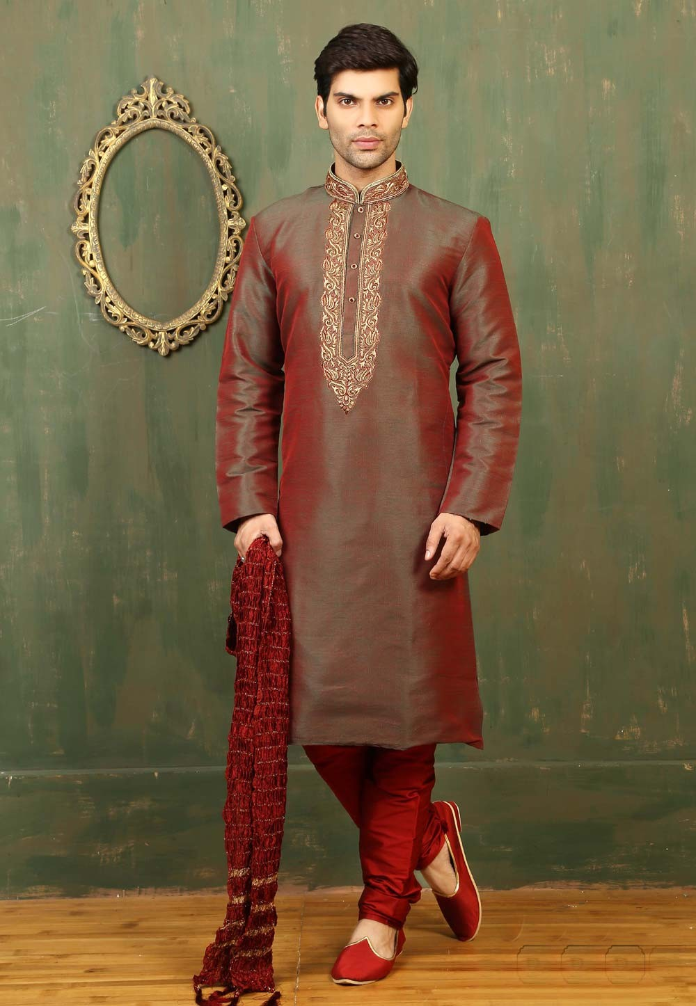 Exquisite Maroon,Green Color Art Silk Readymade Kurta For Mens