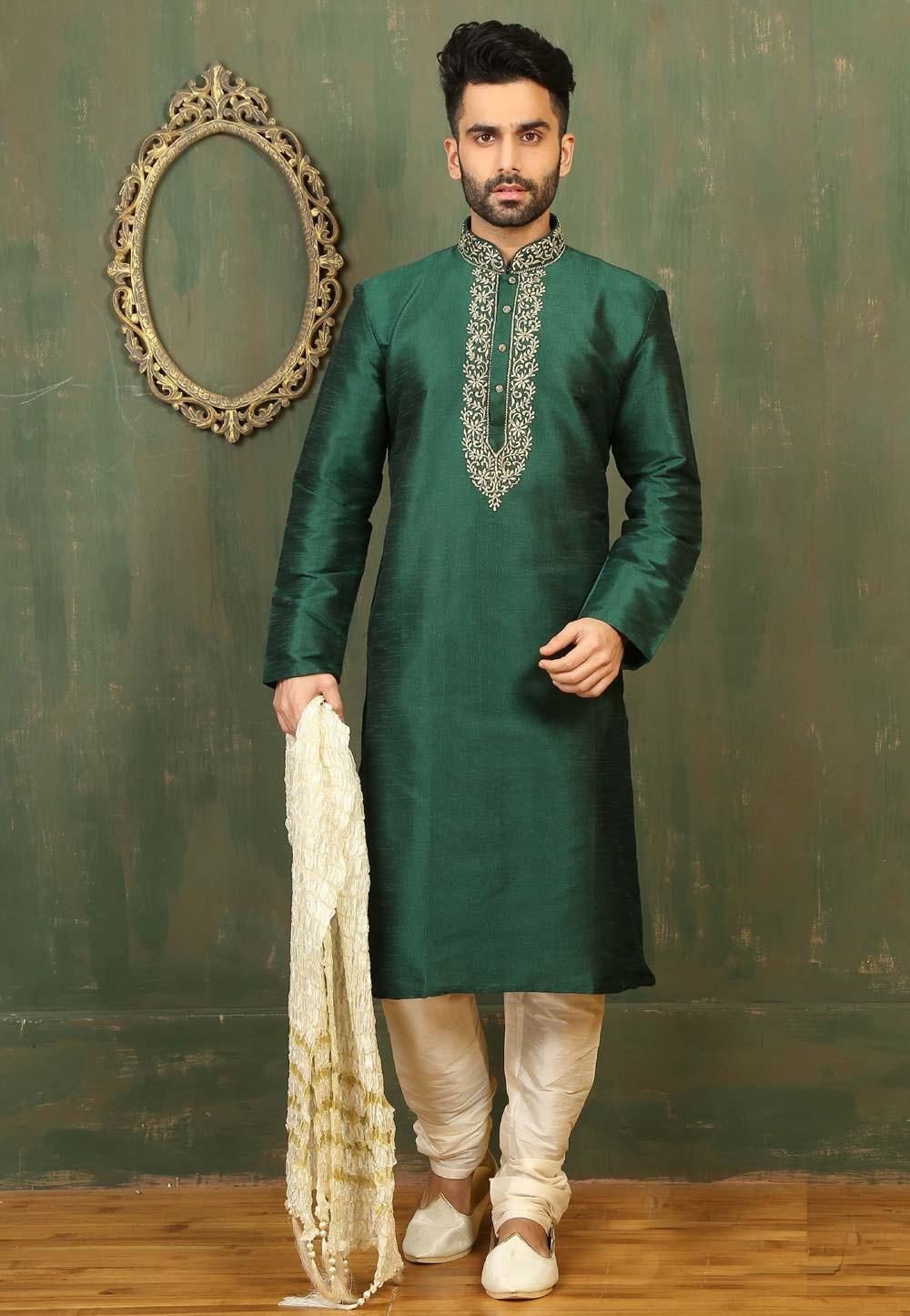 Men's Green Color Dupion Art Silk Readymade Kurta Pajama.