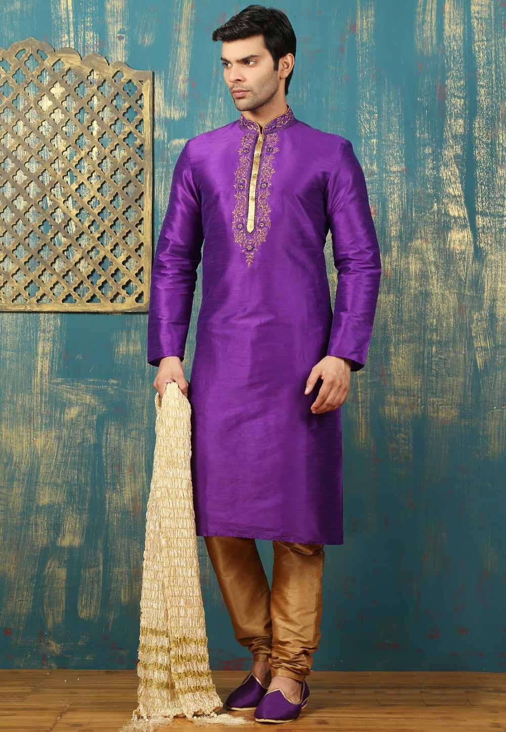 Purple Color & Dupion Art Silk Readymade Kurta Pajama.