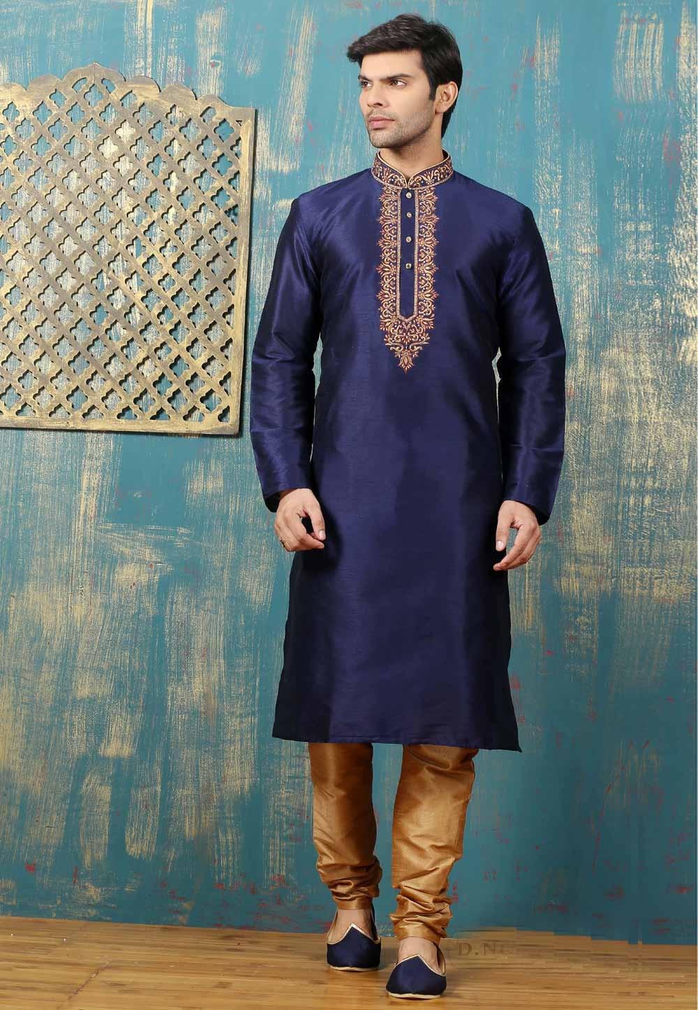 Exquisite Dupion Art Silk Navy Blue Color Men's Readymade Kurta Pajama.
