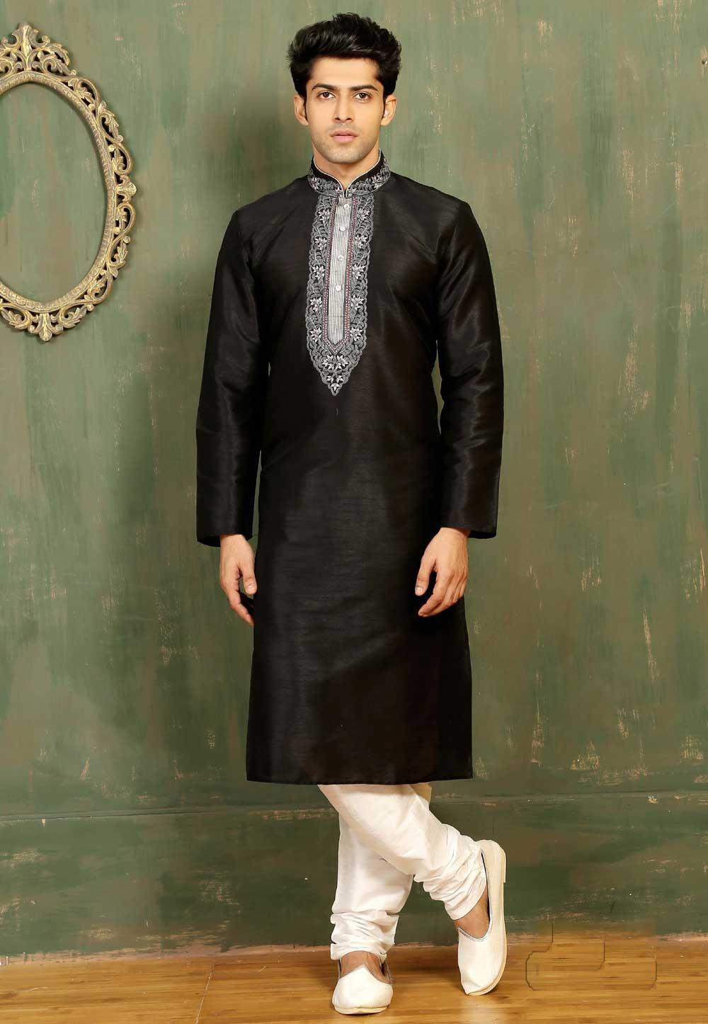 Black Color Dupion Art Silk Readymade Kurta Pajama.