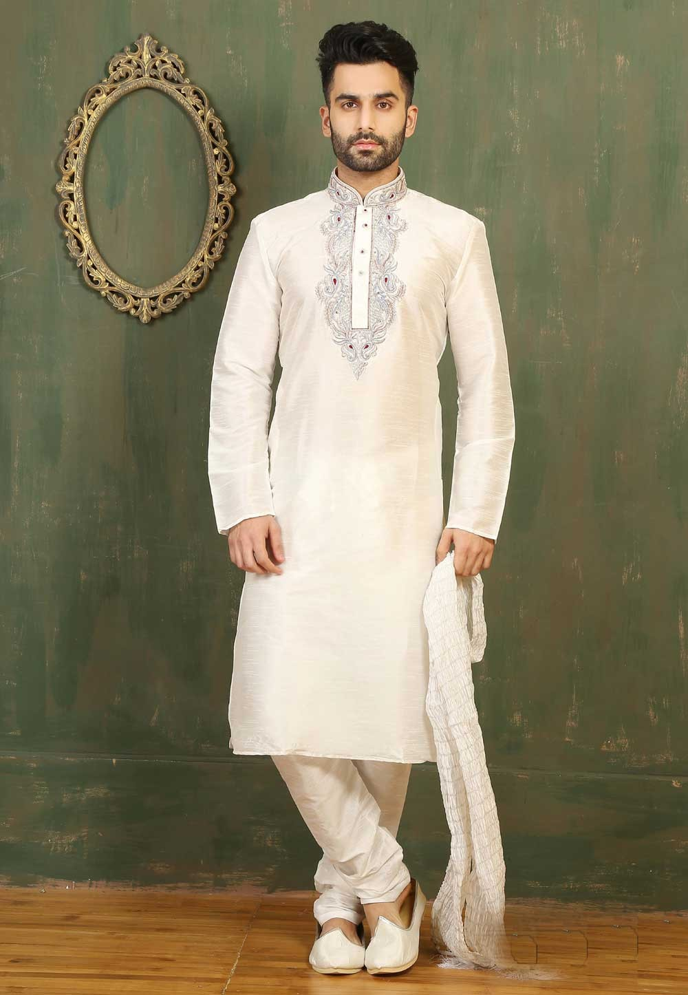 Exquisite Dupion Art Silk Off White Color Men's Readymade Kurta Pajama.