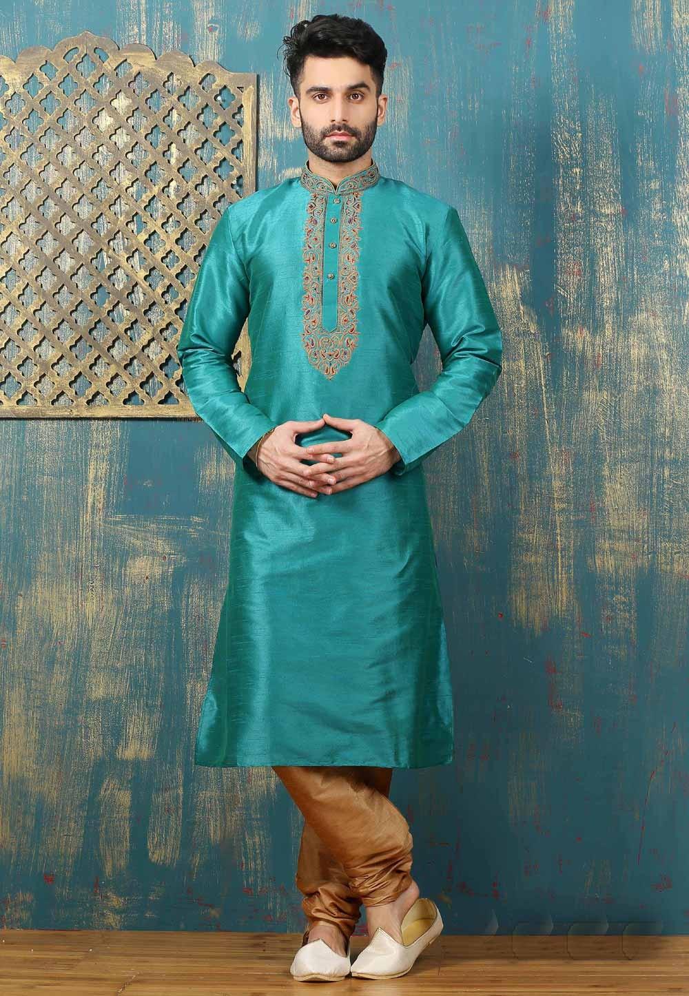 Men's Exquisite Green Color & Dupion Art Silk Readymade Kurta Pajama.