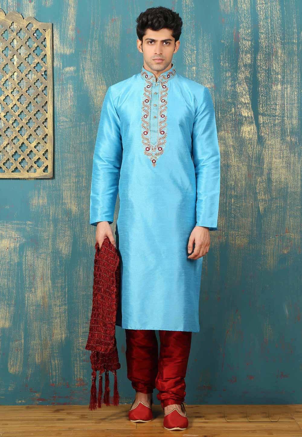 Turquoise Color Dupion Art Silk Fabric Readymade Kurta Pajama.