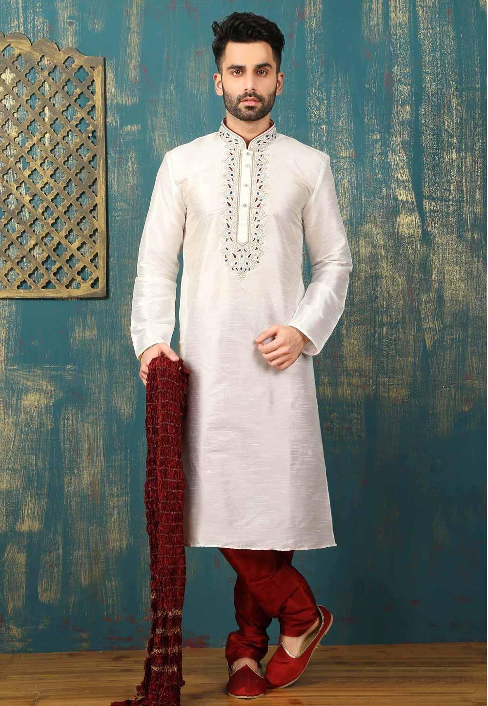 Off White Color Dupion Art Silk Readymade Kurta Pajama.