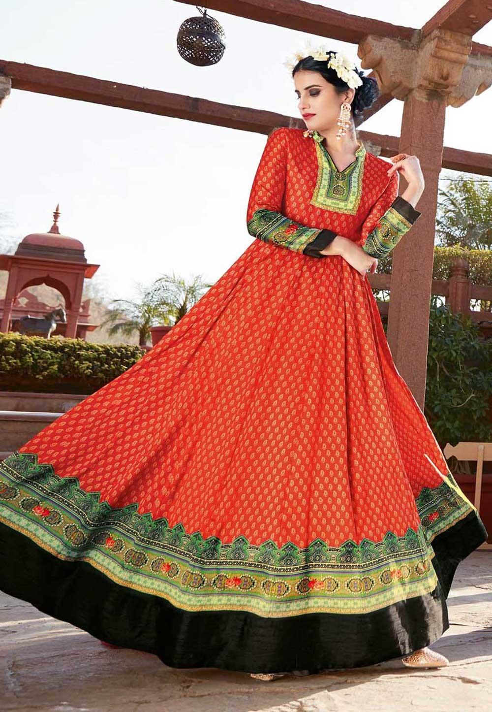 Anarkali Style Red Color with Printed Work Incredible Unstitched Salwar Kameez