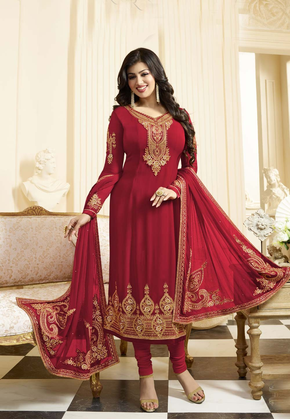 Straight Cut Style Red Color & Georgette Fabric Incredible Salwar Kameez
