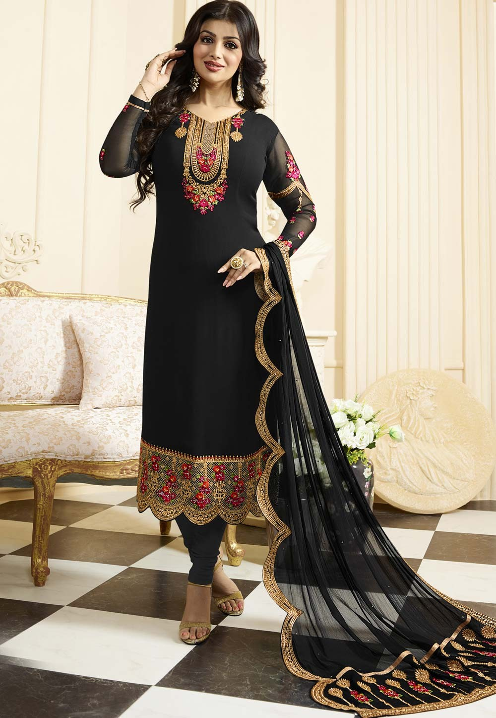 Black Color with Embroidery Work Unstitched Salwar Kameez