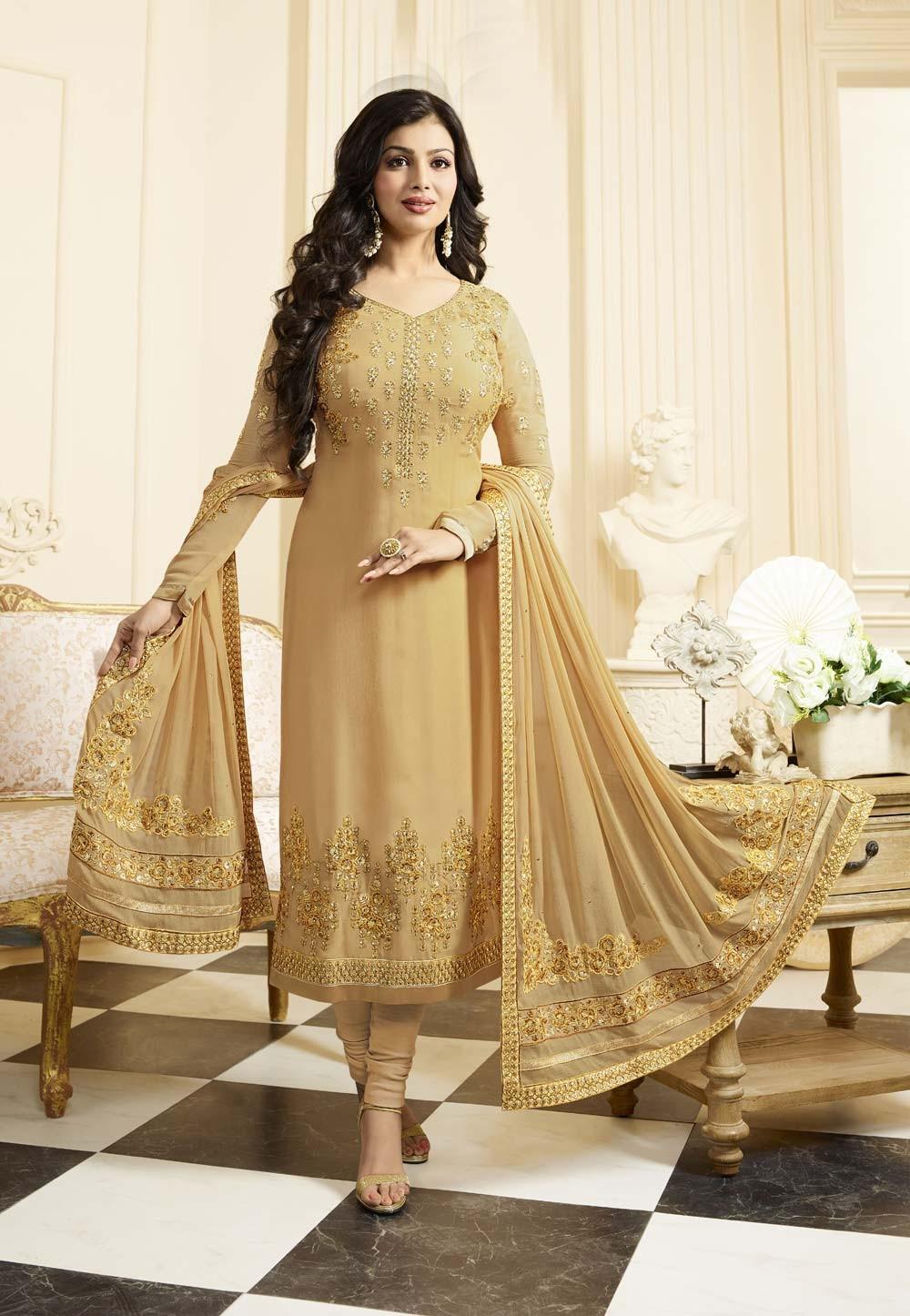 Beige,Golden Color with Embroidery Work Astounding Unstitched Salwar Kameez