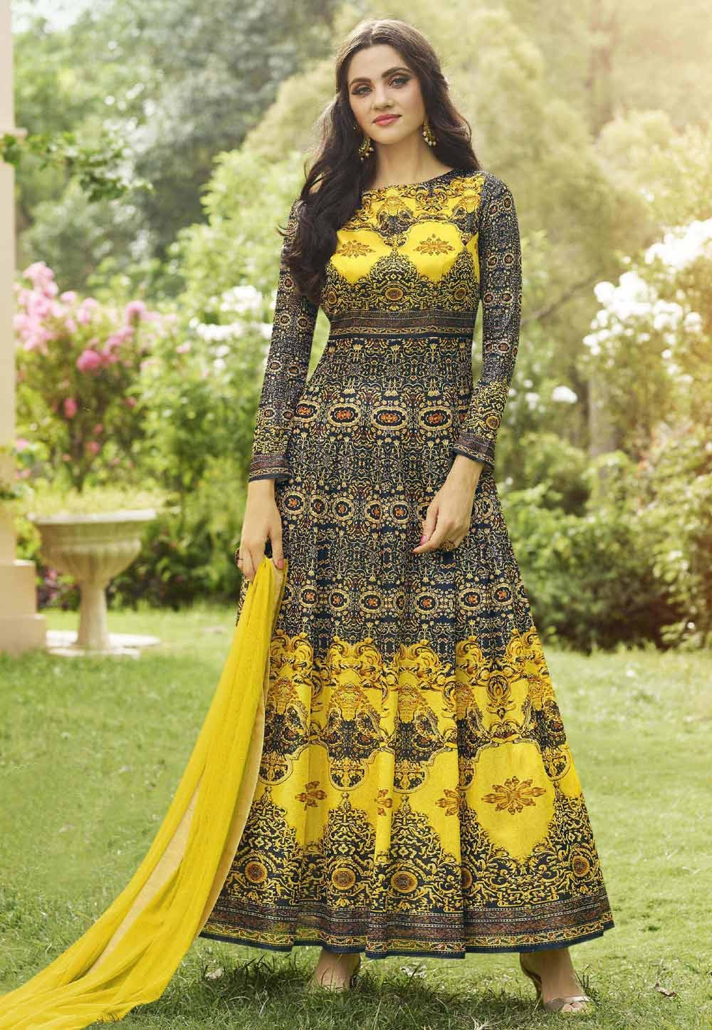 Anarkali Salwar Kameez in Blue,Yellow Color & Printed Fabric