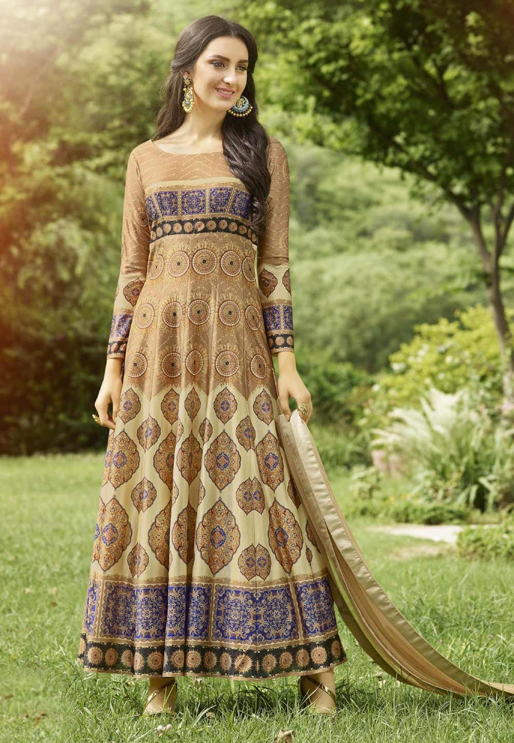 Party Wear Salwar Kameez in Brown Color & Imported Fabric