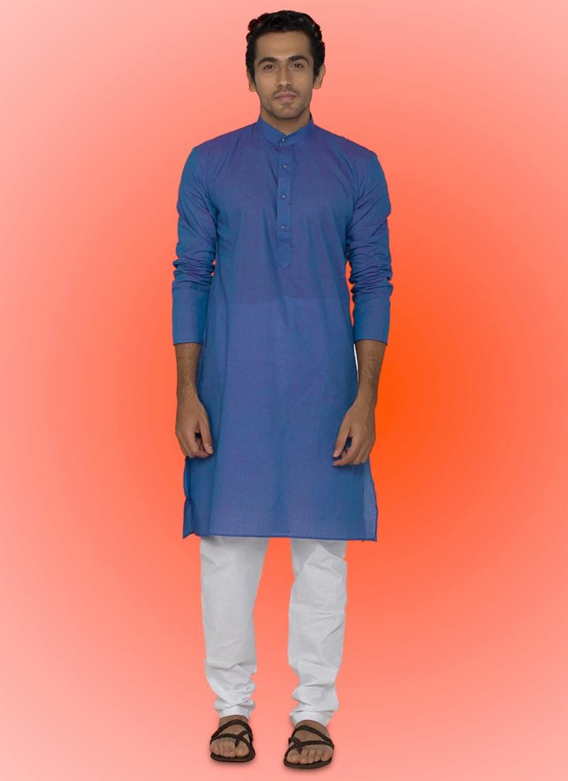 Men's Attractive Raglan Sleeves Blue Cotton Readymade Kurta