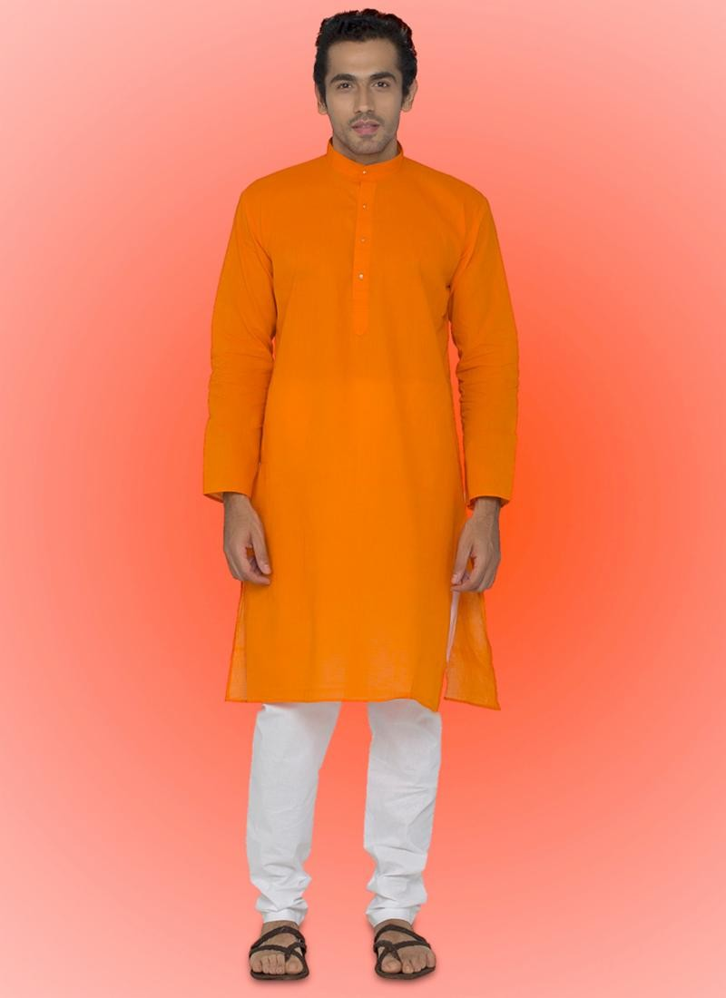 Exquisite Cotton Orange Readymade Kurta