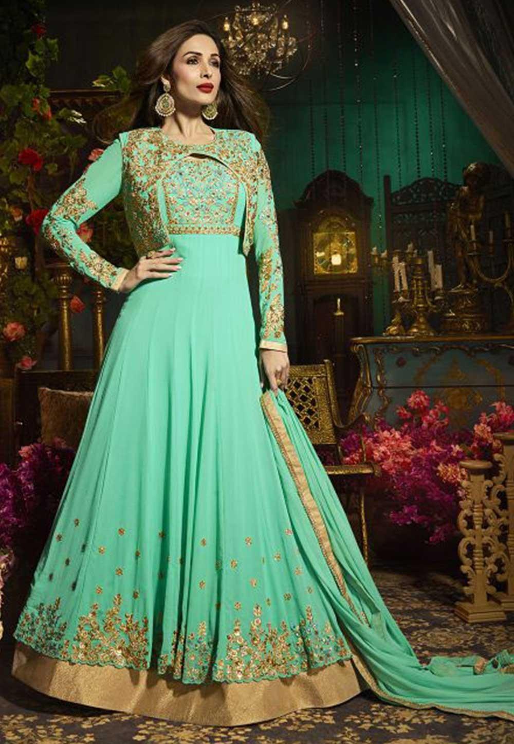 Green Color Georgette Bollywood Salwar Kameez Online