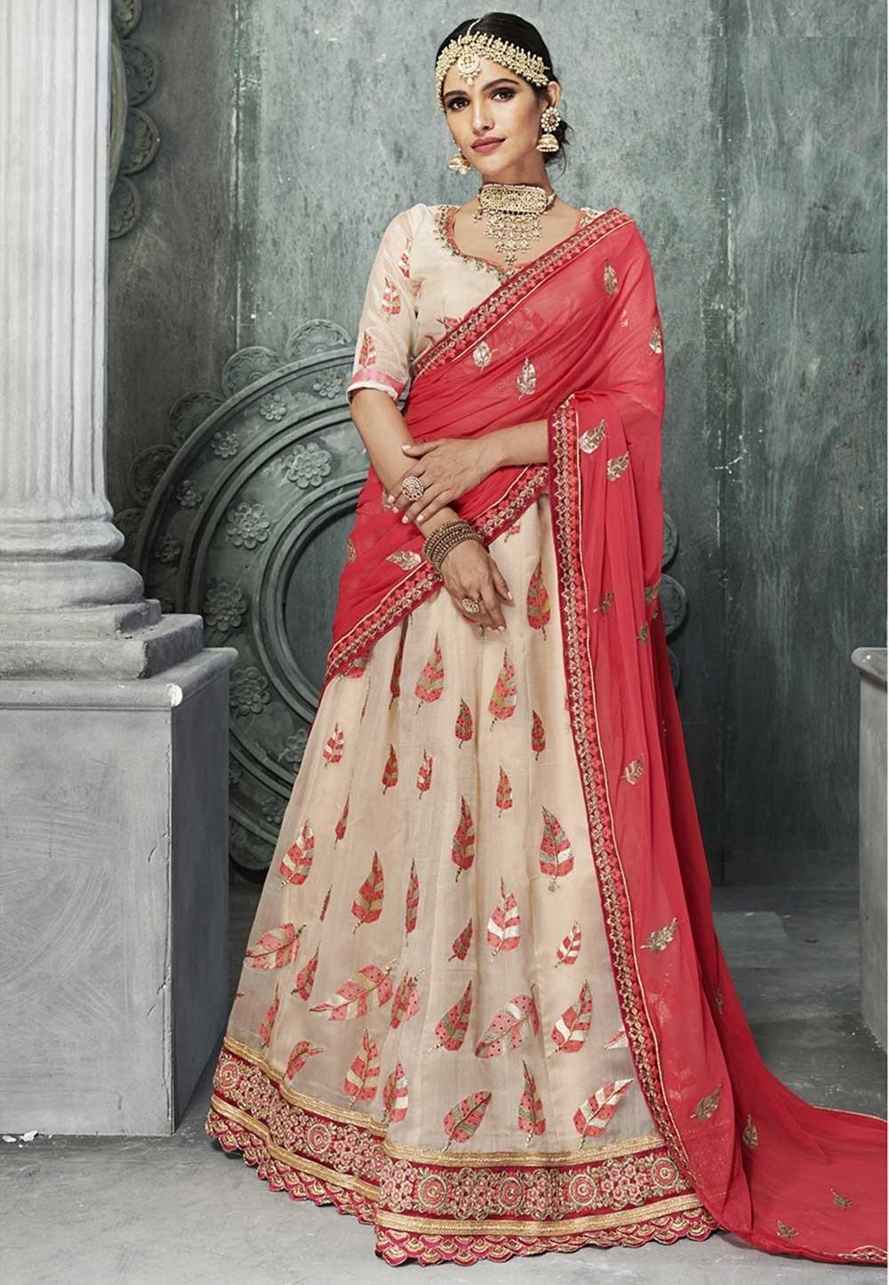 Beige Color Bridesmaid Lehenga Online