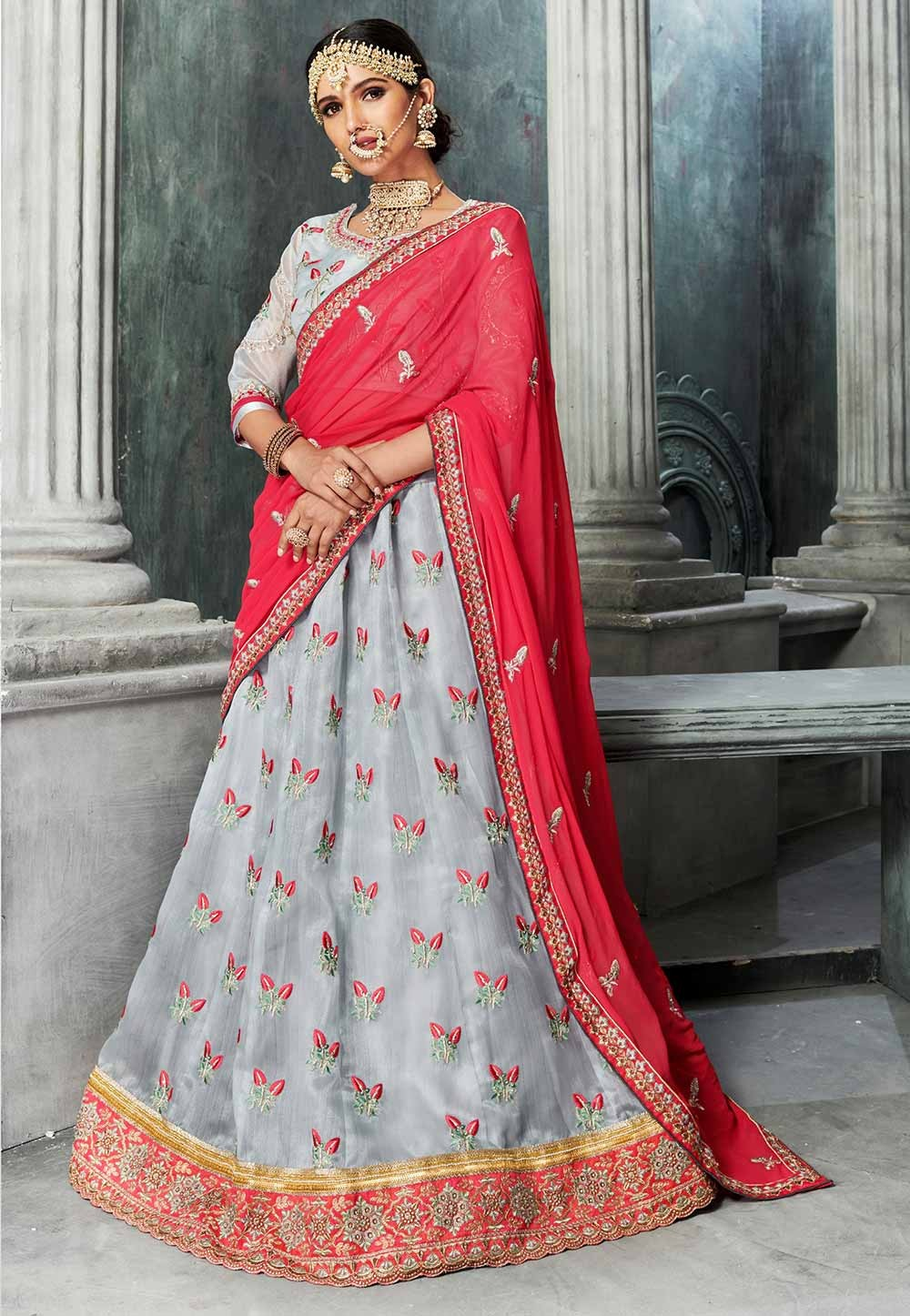 Grey Color Lehenga Choli for Bridesmaid