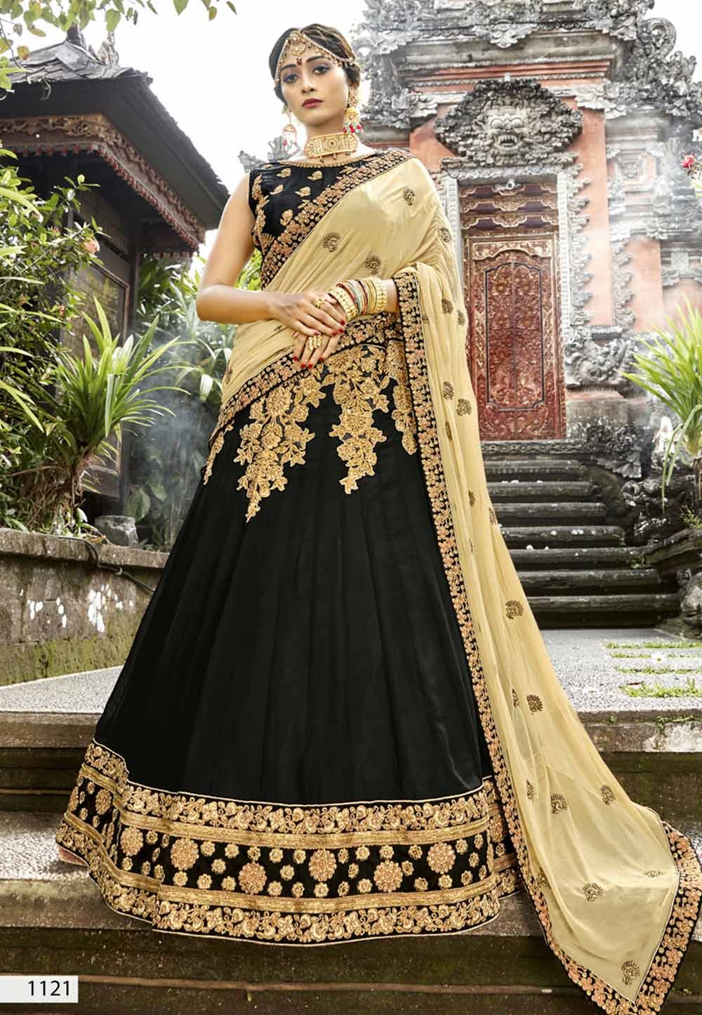 Black Color Designer Lehenga Choli.