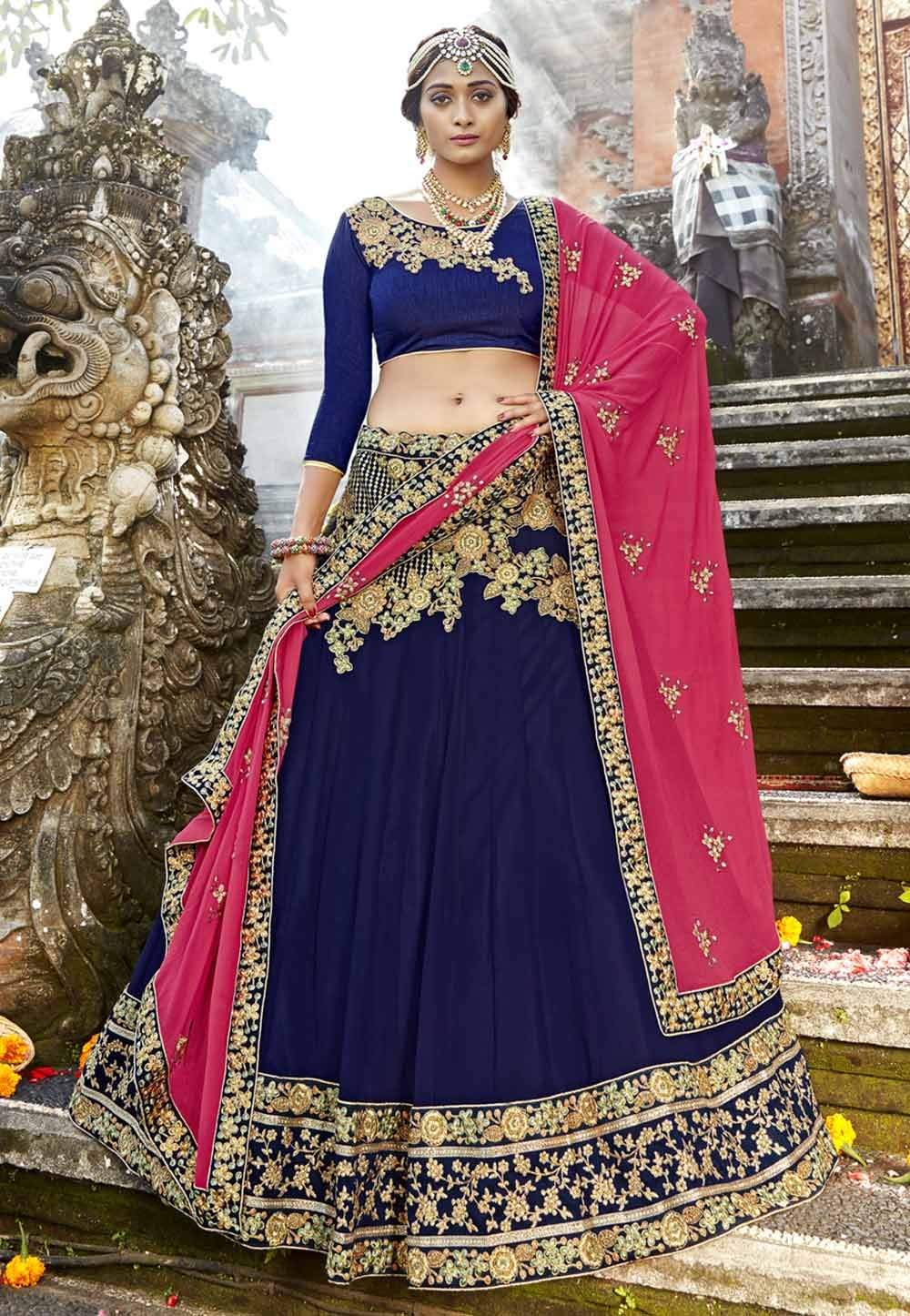 Blue Color Bridesmaid Lehenga Choli.