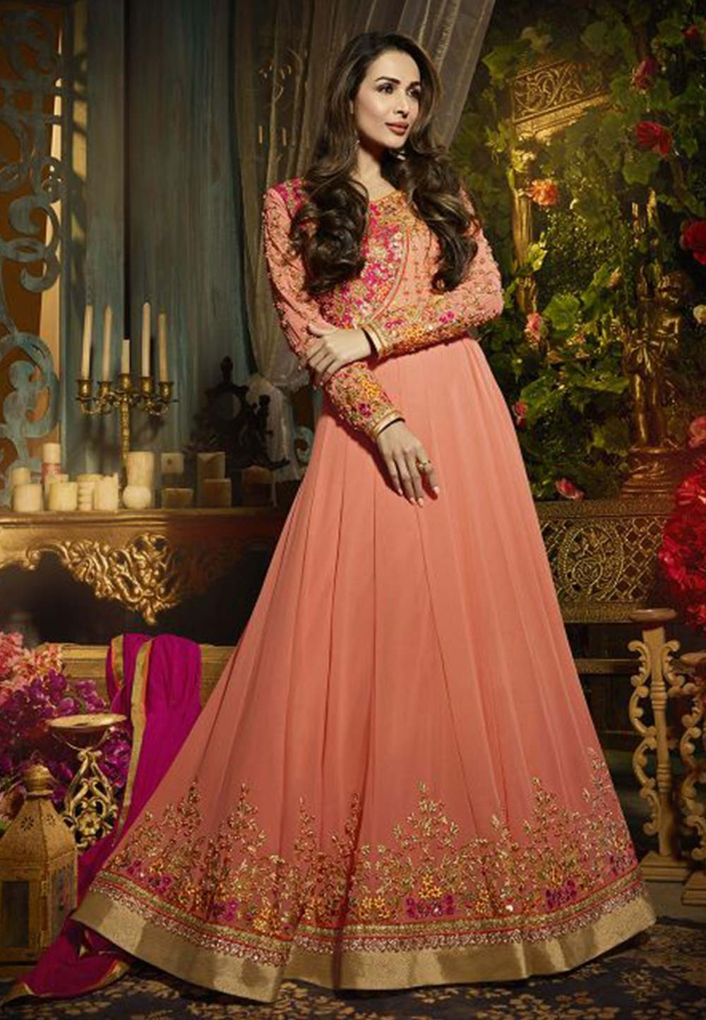 Orange,Pink Color Designer Salwar Suit.