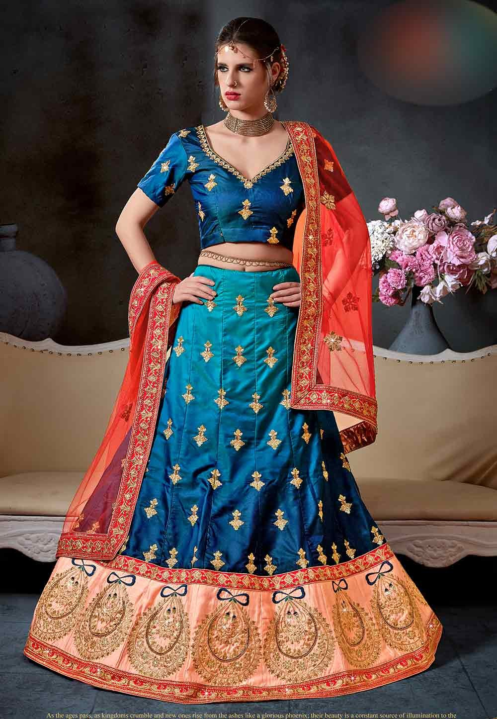 Blue Color Engagement Lehenga Choli.