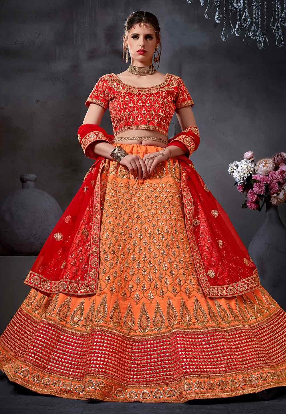 Orange Color Bridal Lehenga Choli.