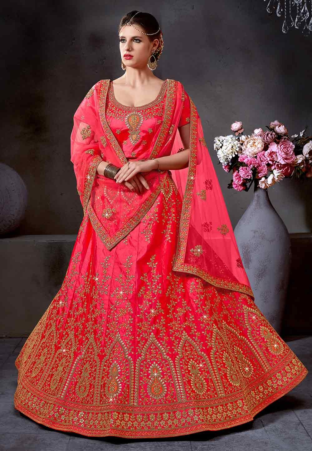 Pink Color Indian Wedding Lehenga Choli.