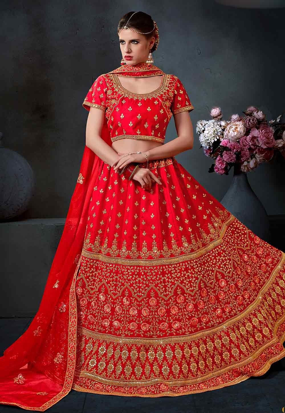 Red Color Bridal Lehenga Choli.