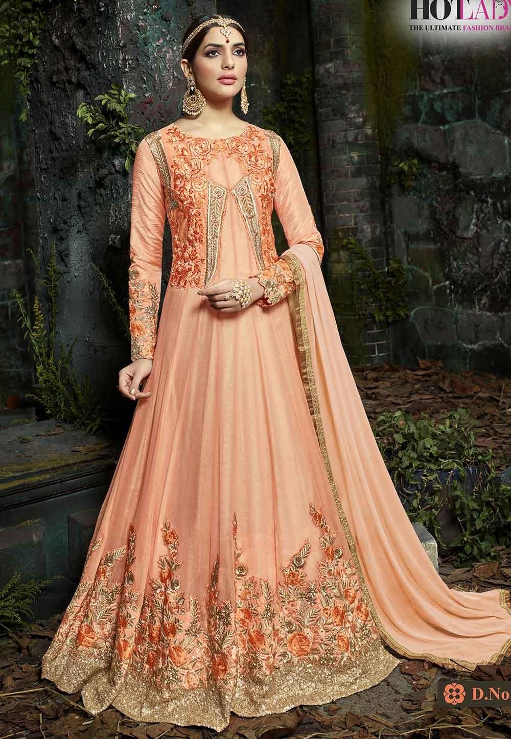 Peach Color Indian designer Salwar Suit.