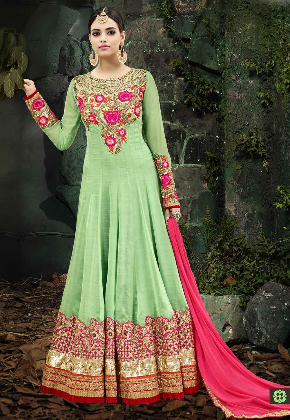 Green Color Anarkali Salwar Suit.