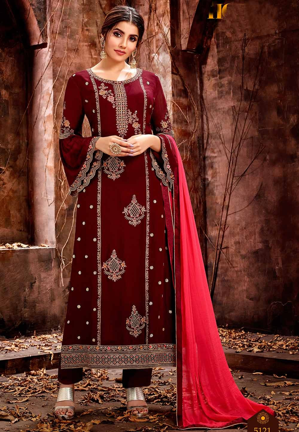 Beautiful Maroon Designer Salwar Suit.