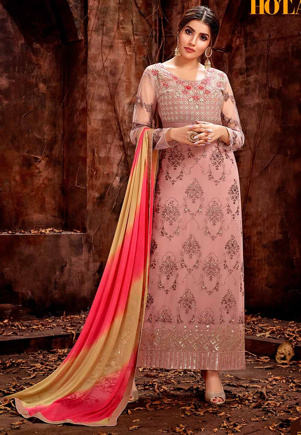 Exclusive Peach Colour Designer Salwar Suit.