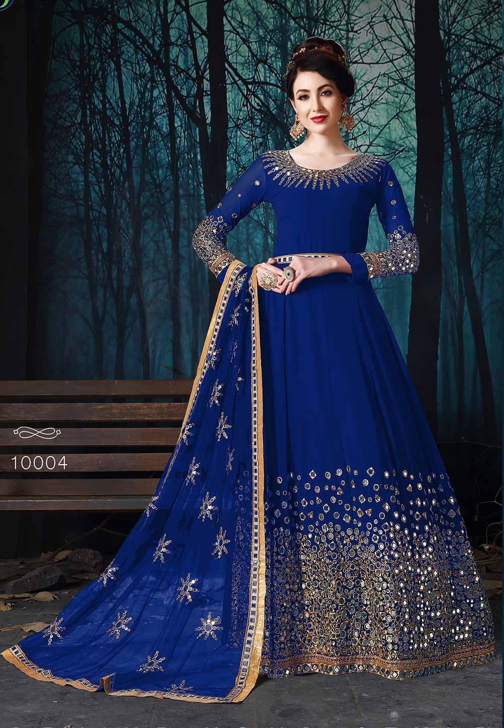 Blue Georgette Designer Salwar Suit.
