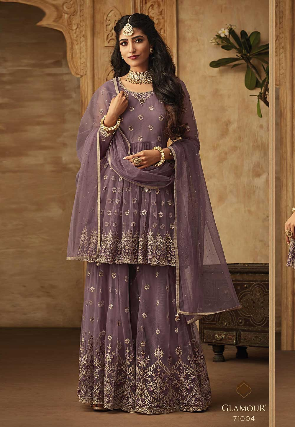 Purple Color Party Wear Salwar Suit.
