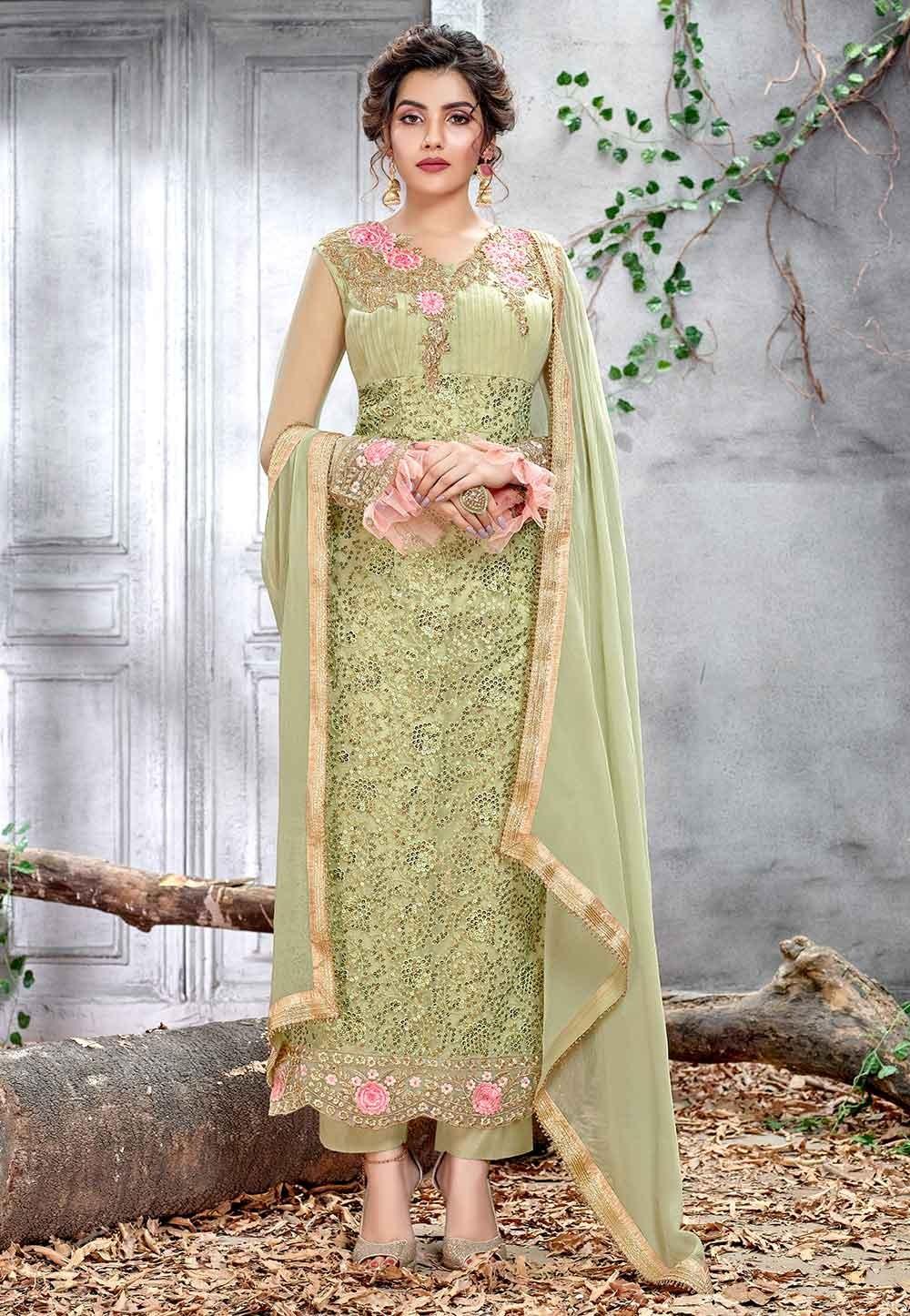 Pista Green Color Indian Designer Salwar Kameez.