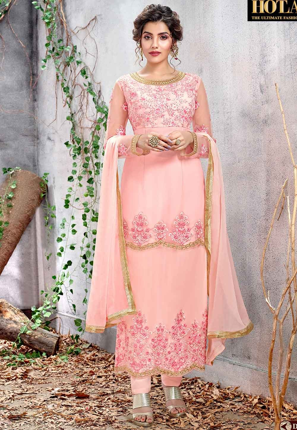 Party Wear Salwar Suit in Baby Pink Color.