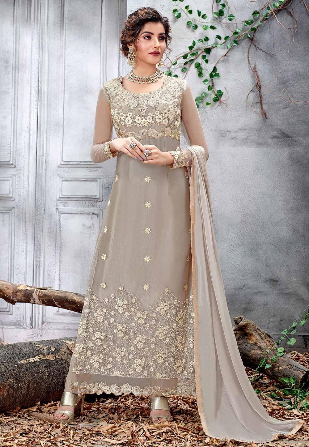Light Grey Color Designer Salwar Kameez.
