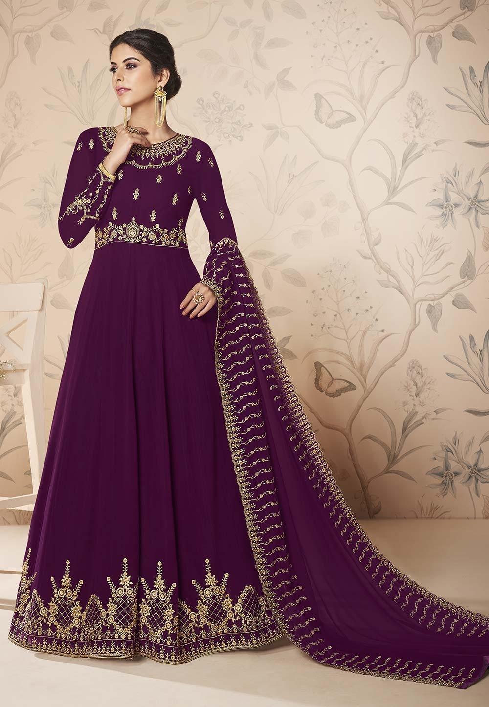Wine Colour Designer Anarkali Salwar Suit.