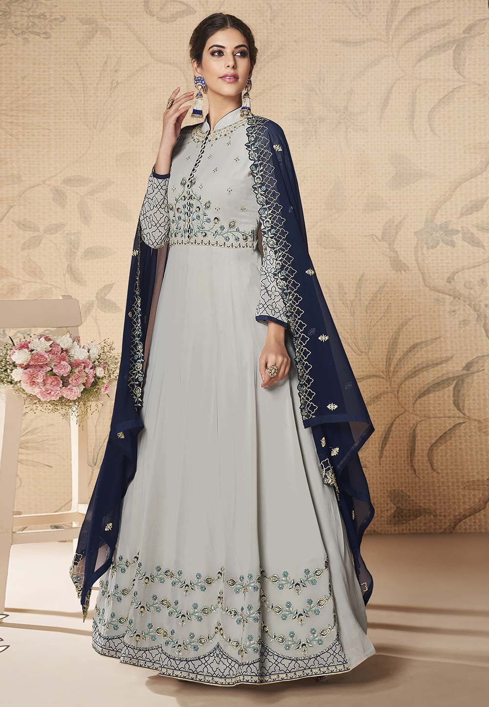 Grey Colour Party Wear Salwar Suit.
