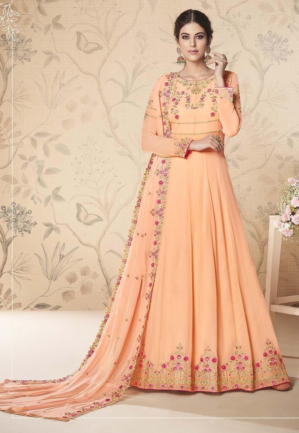 Peach Colour Designer Salwar Suit.
