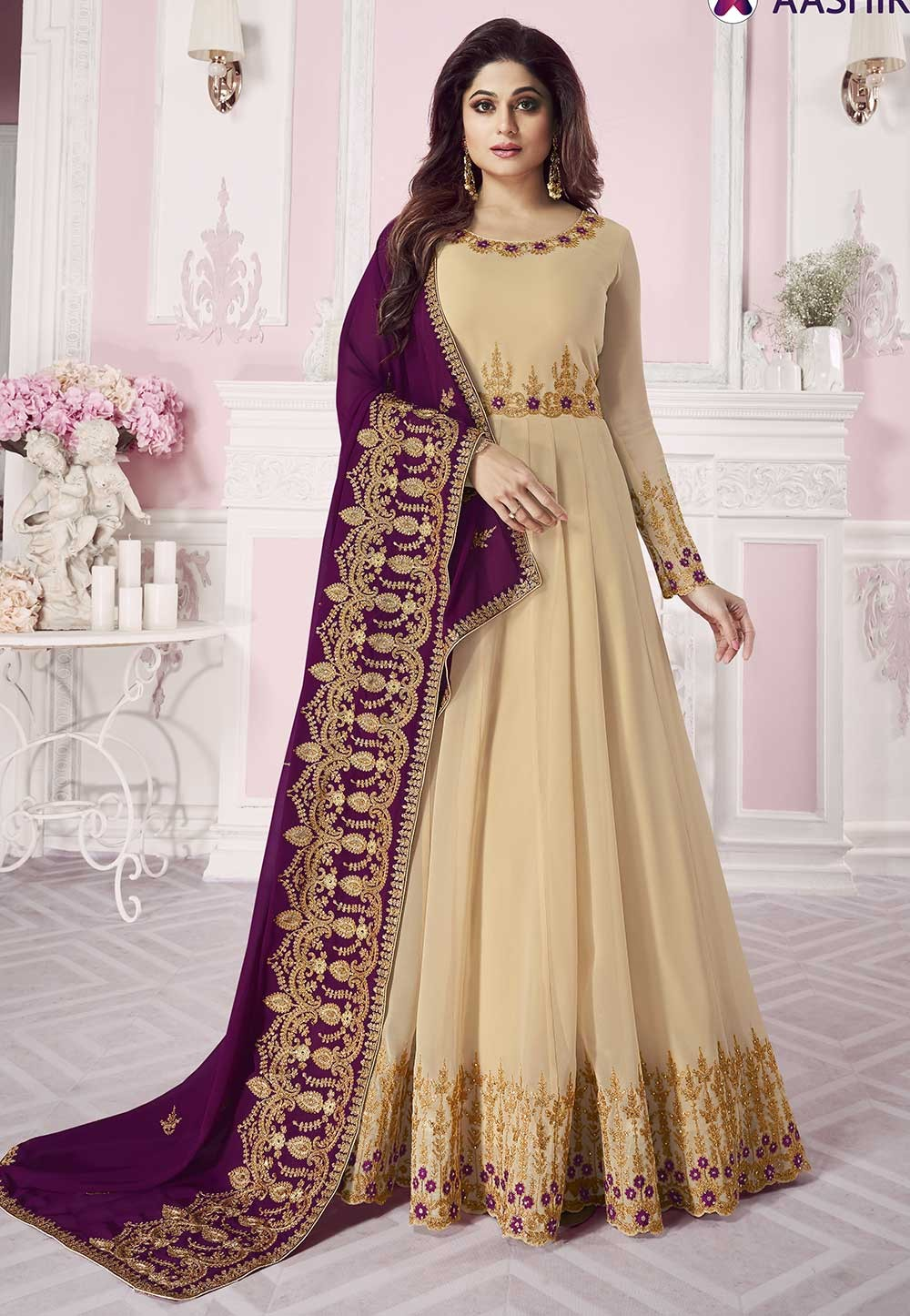 Beige Colour Designer Anarkali Salwar Suit.
