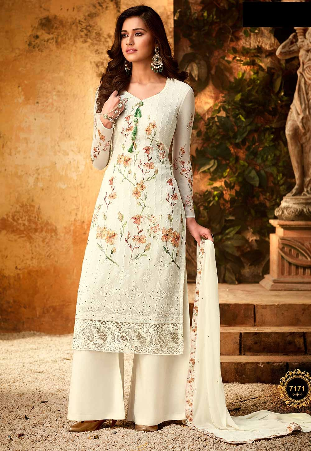Off White Colour Designer Palazzo Salwar Suit.