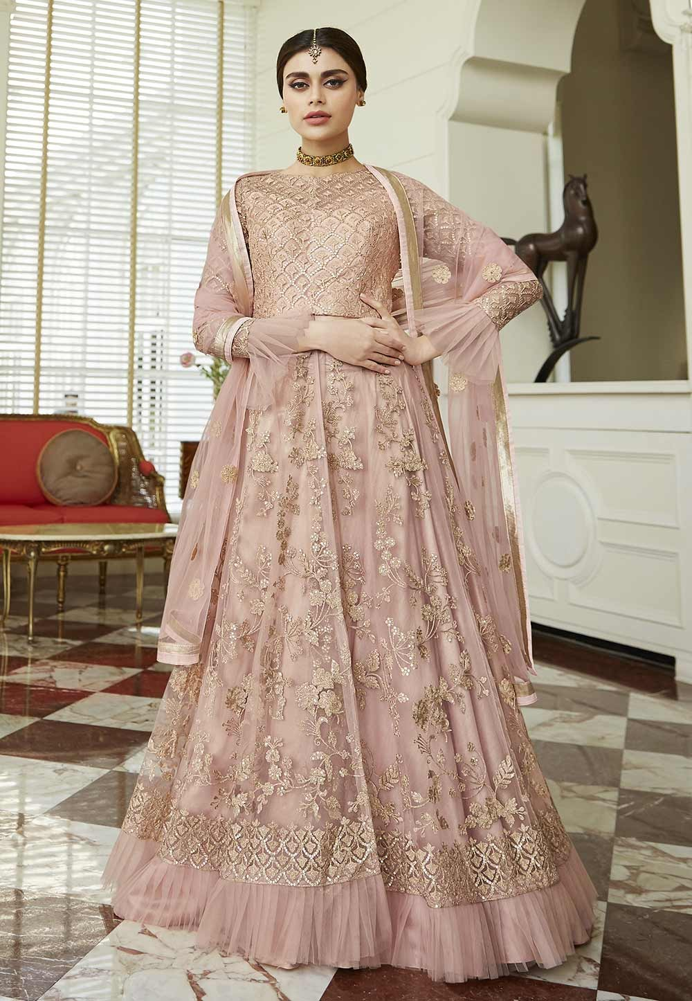 Party Wear Salwar Suit in Pink,Peach Colour.