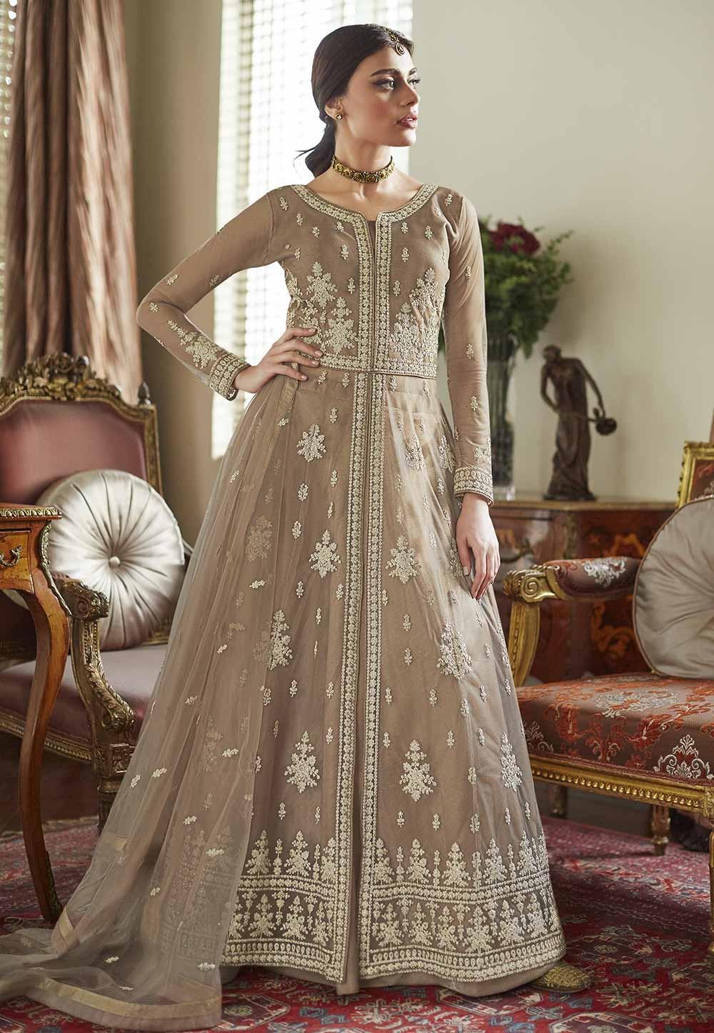 Beige Colour Women's Salwar Suit in Satin,Net Fabric.
