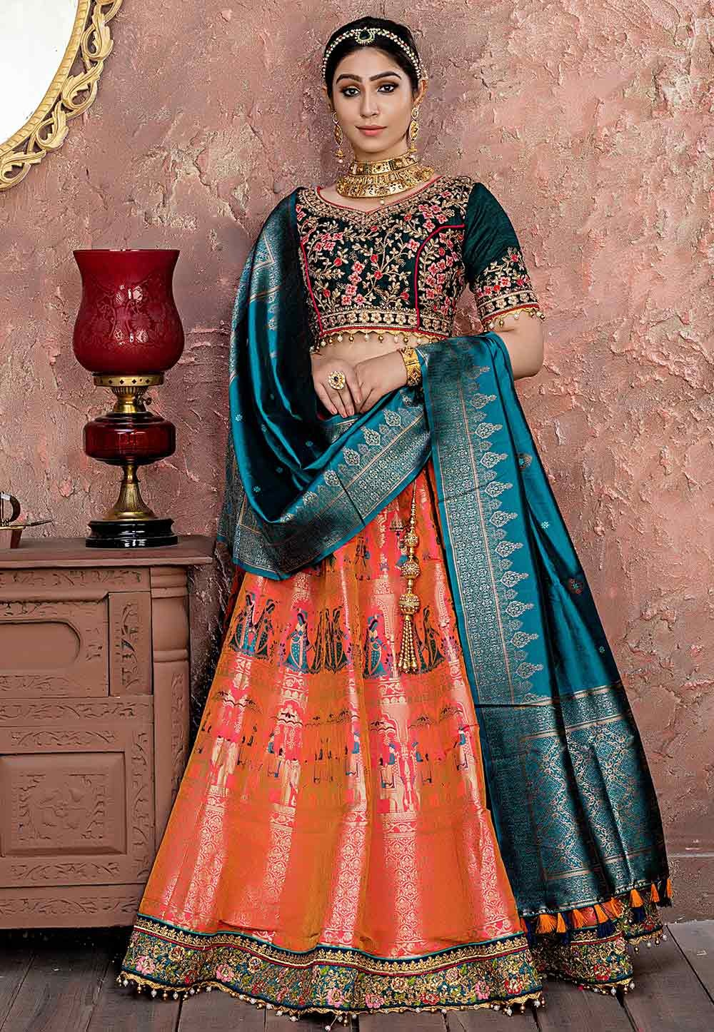 Indian Designer Lehenga Choli in Pink,Orange Colour.