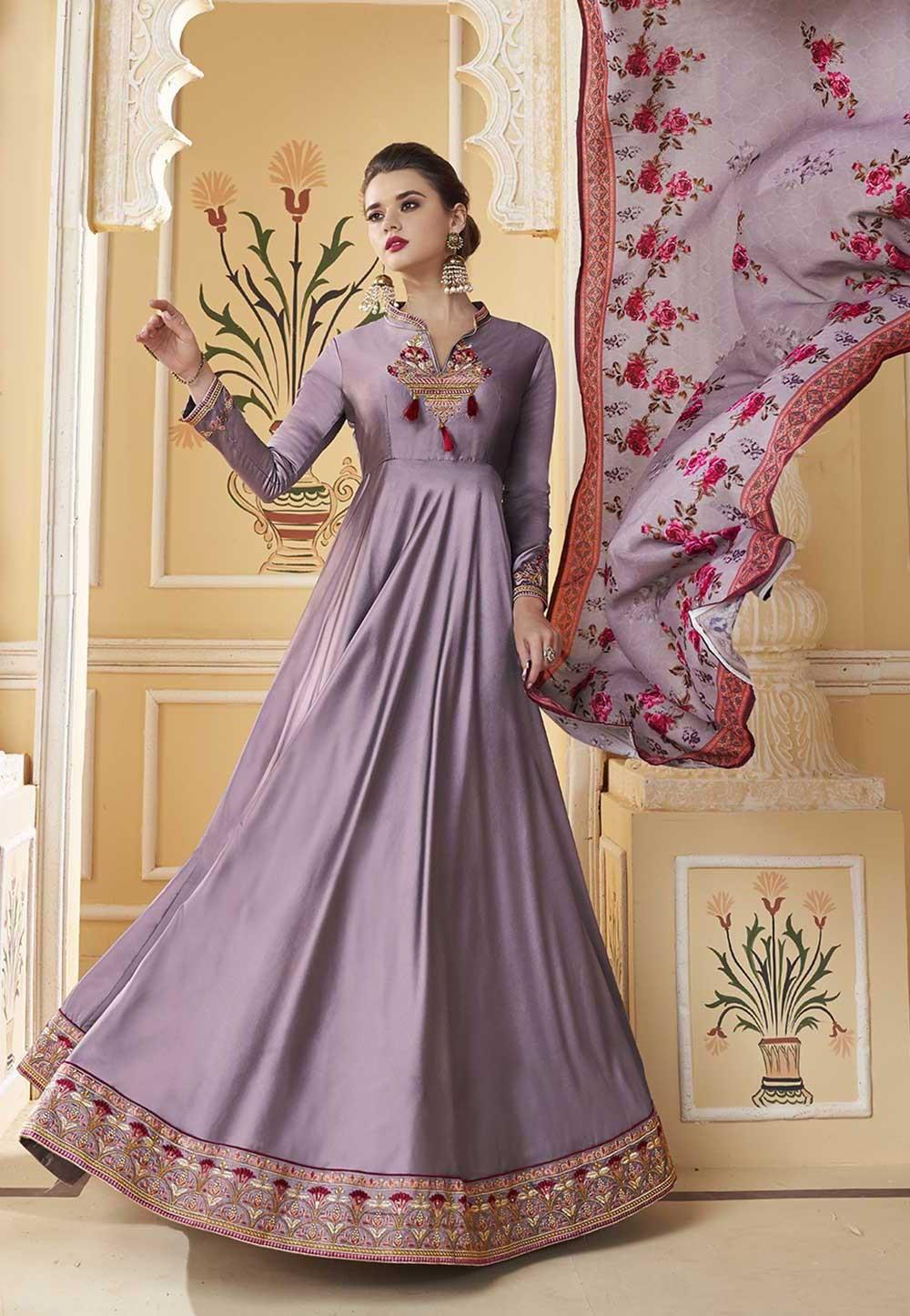 Designer Salwar Suit Purple Colour.
