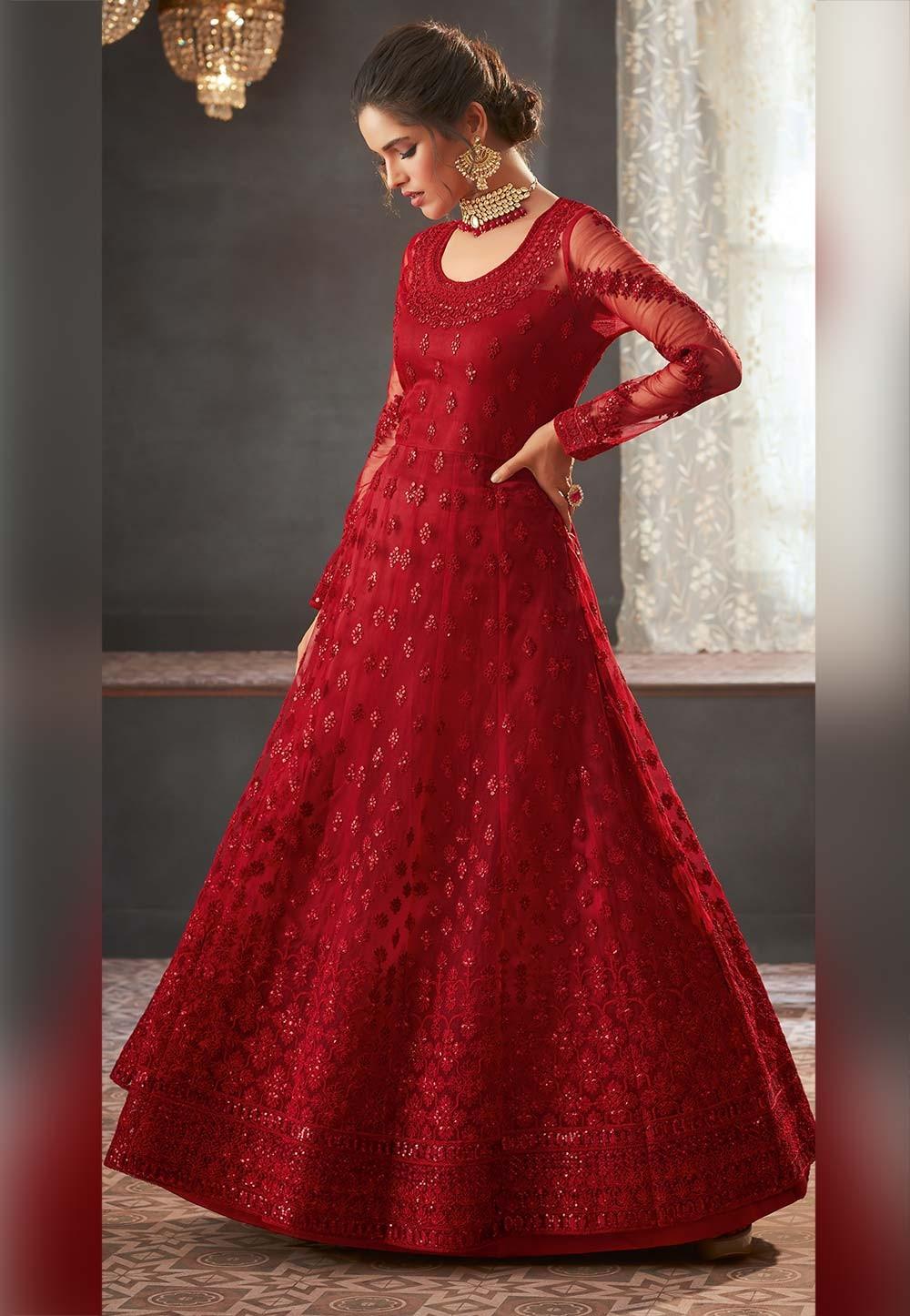 Anarkali Salwar Suit Maroon Colour.